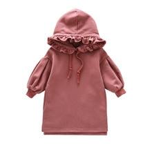 Spring Autumn collar Casual Baby Girls hooded dress Fashion Sweater Fleece Kids Childrens leisure dresses