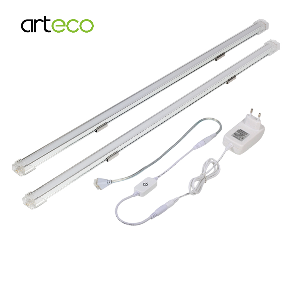 2PCS LED Bar Light 50CM 24V TOUCH SENSOR Dimmer Seamless Connecting Indoor Lighting Rigid LED Strip Lamp For Kitchen Cabinets 2pc 50cm led bar light 42leds 2835 smd ultra thin lamp indoor light seamless connecting rigid led strip kitchen bookcase cabinet