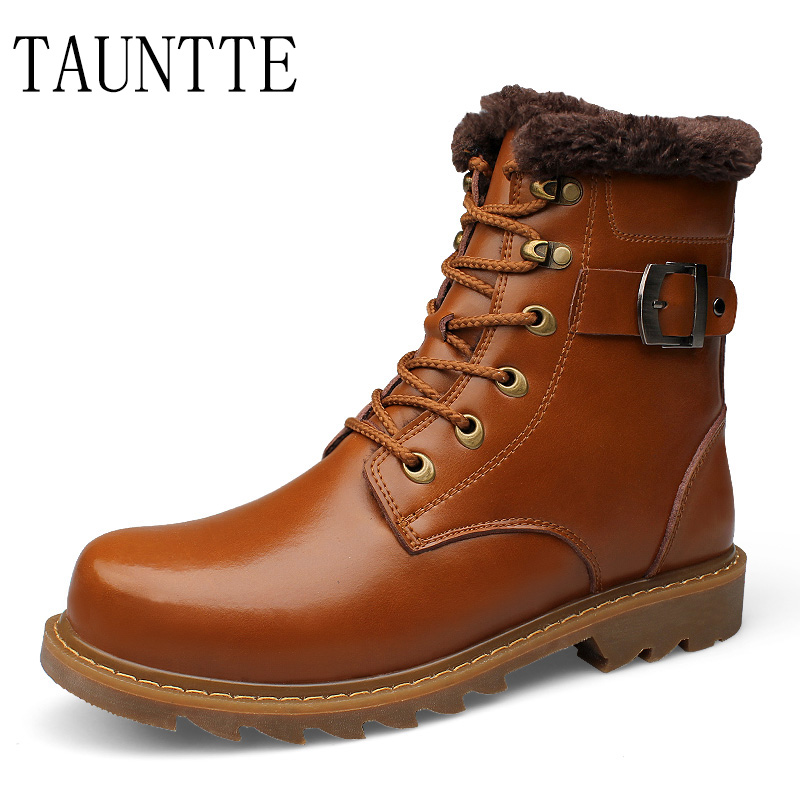 Tauntte Winter Mid-Calf Men Boots Genuine Leather Martin Boots Fashion Waterproof Motorcycle Boots With Fur Plus Size 2017 latest men s mid calf boots genuine leather buckle strap round toe men s leather shoes chakku motorcycle boots