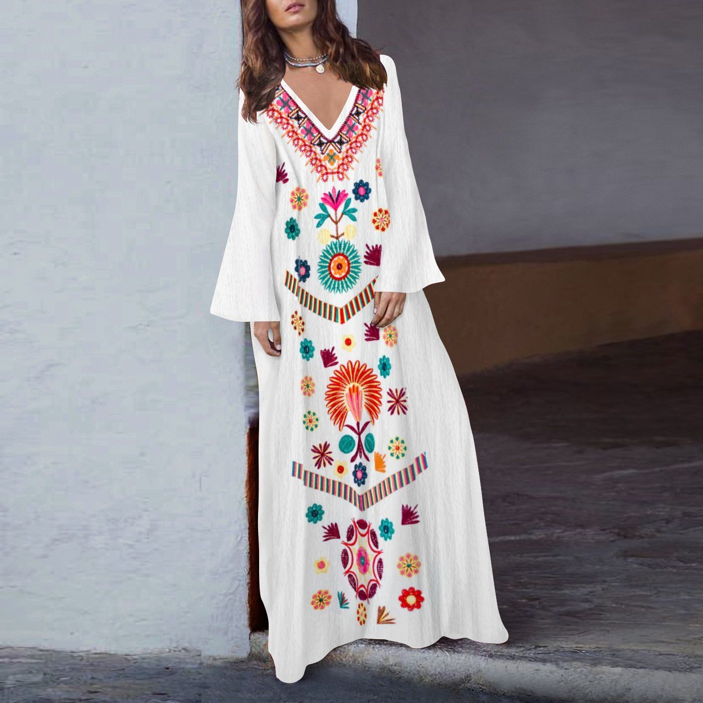 271a61ef63c New Fashion Women Floral Printed Asymmetrical Vintage Maxi Dress Ethnic  Style Long Sleeve Dress Loose Charming