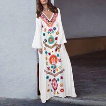 цена на New Fashion Women Floral Printed Asymmetrical Vintage Maxi Dress Ethnic Style Long Sleeve Dress Loose Charming V Neck Dresses
