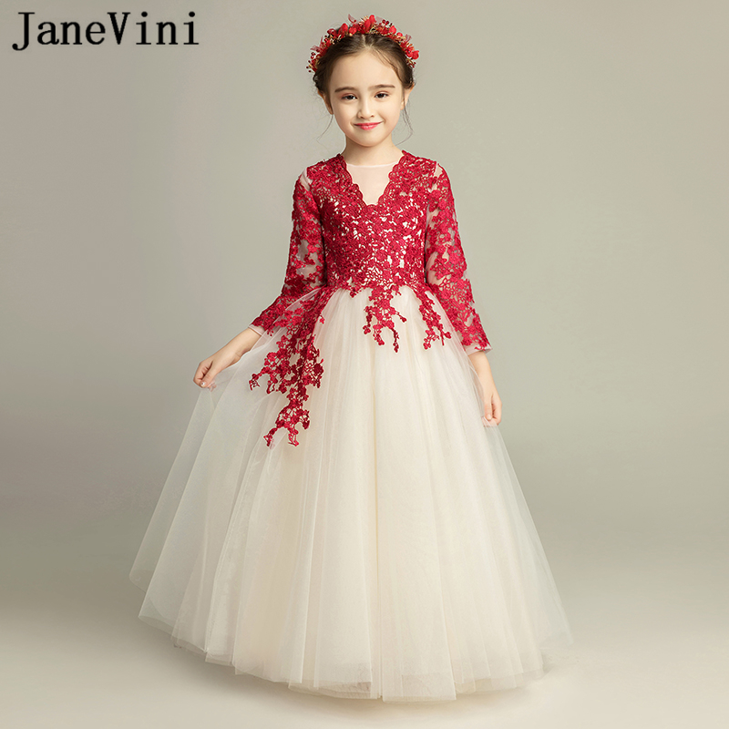 JaneVini Elegant Puffy Tulle Princess Burgundy   Flower     Girl     Dress   2019 V Neck Lace Appliques A Line   Girls   First Communion   Dresses
