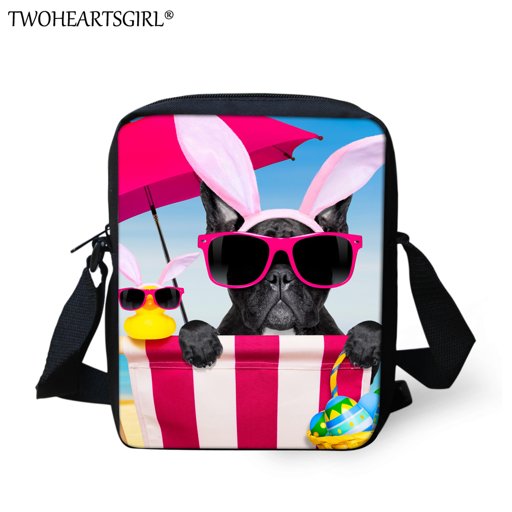 TWOHEARTSGIRL Cute Beach Dog Prints Girls Messenger Bag Casual Small Bag Student Crossbody Bags Designer Travel Storage Backbags
