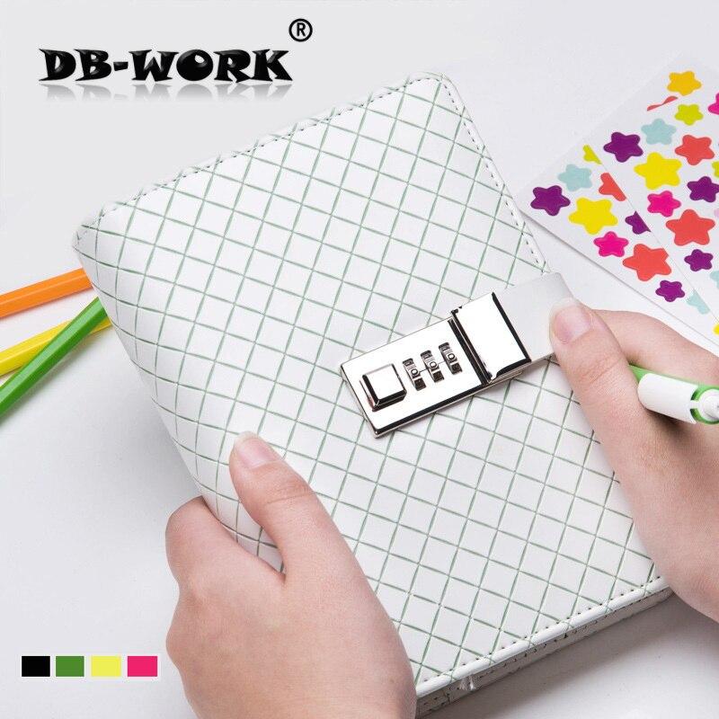2019 A6 kreativ ling lösenord lösblad bok lås bärbar anteckningsbok dagbok mode affär brevpapper