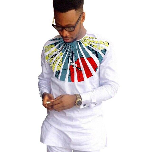 African fashion shirts men ankara print long sleeve dashiki shirts white cotton and wax patchwork o-neck top of africa clothing 4