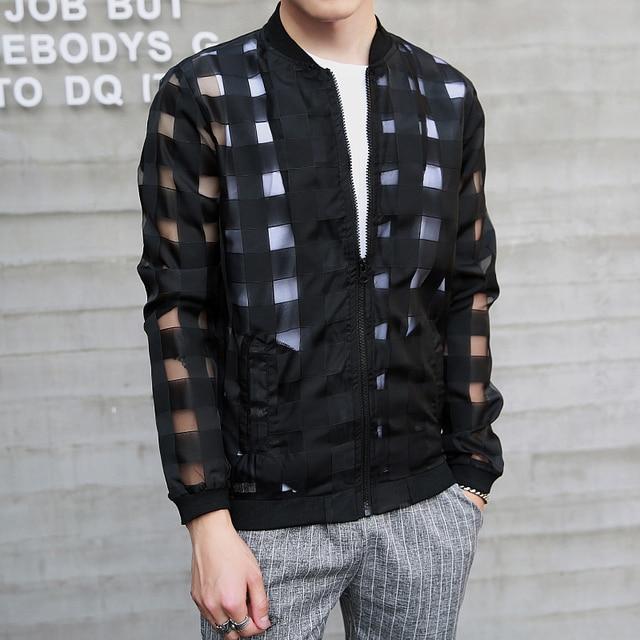Men Summer Jackets Fashion Bomber Style Plaid Transparent ...