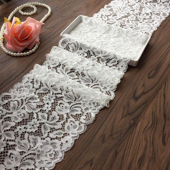 18cm wide white color Elastic Lace Trim Ribbon wedding dress skirt lace trim Handmade Hair Decoration Clothing Accessor
