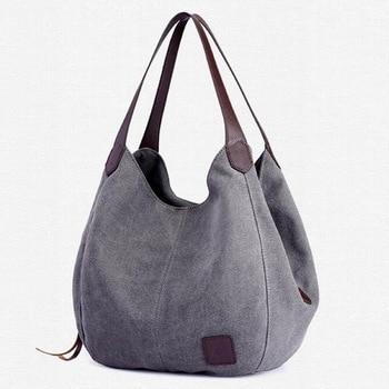 Women's Canvas Handbag Lady Canvas Hobo Bag Female Large Capacity Shoulder Bag 1