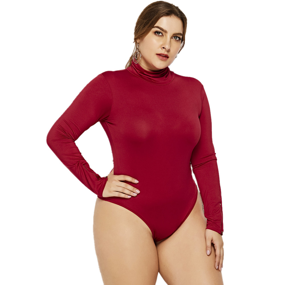 FK1631 Women's Plus Size Turtleneck Bodysuits Barboteuse Long Sleeve Zippers Decorated Simply Sping Winter Base Shirt Rompers