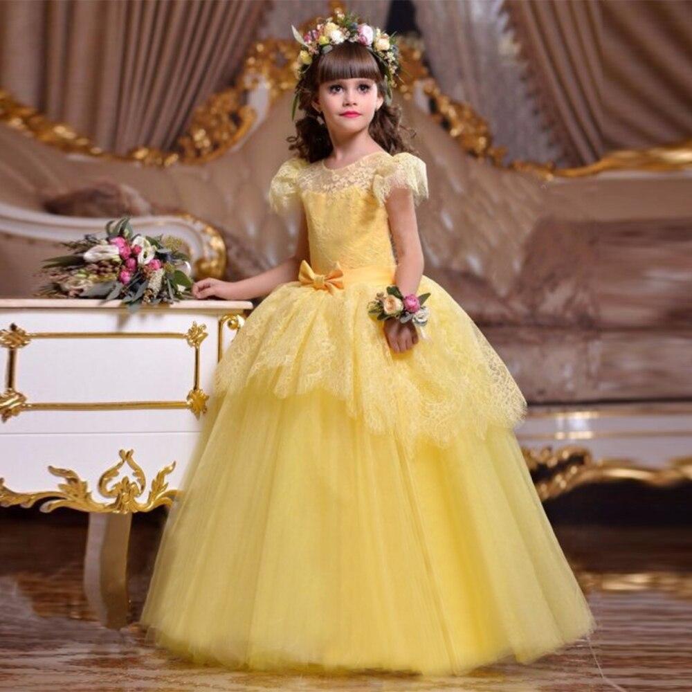 137bd5eab Vestidos de Fiesta largos de encaje para niñas adolescentes vestidos  elegantes de dama de honor ...