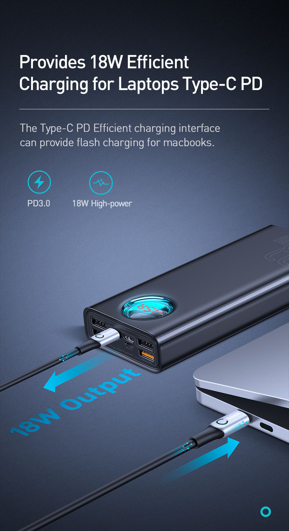 Baseus 30000mAh Power Bank USB C PD 3.0 Fast Charging + Quick Charge 3.0 Portable External Battery for Samsung Laptop Powerbank 10
