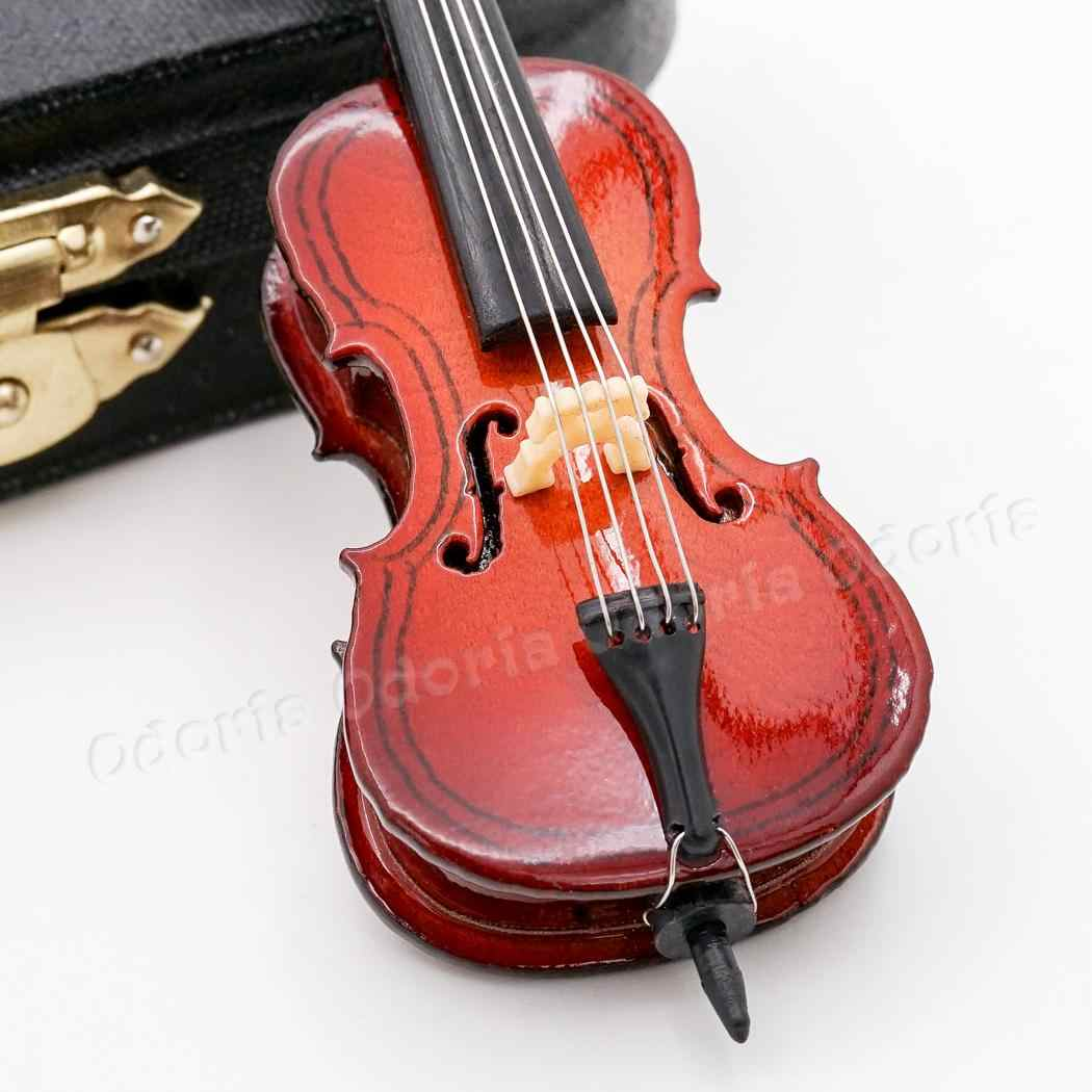 1:12 Scale Wooden Cello with End Pin /& Black Suitcase tumdee Dolls House zubhör