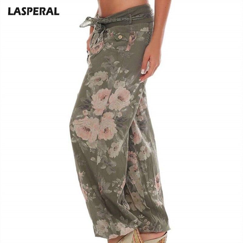 LASPERAL Fashion Women Summer Pants Wide Leg Pants Floral Print Midi Waist Female Trousers 2018 Brand Summer Bottom
