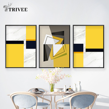 Prints Wall Art Canvas Painting Geometric Pattern Marble Yellow Pictures For Living Room Nordic Style Picture Decoration