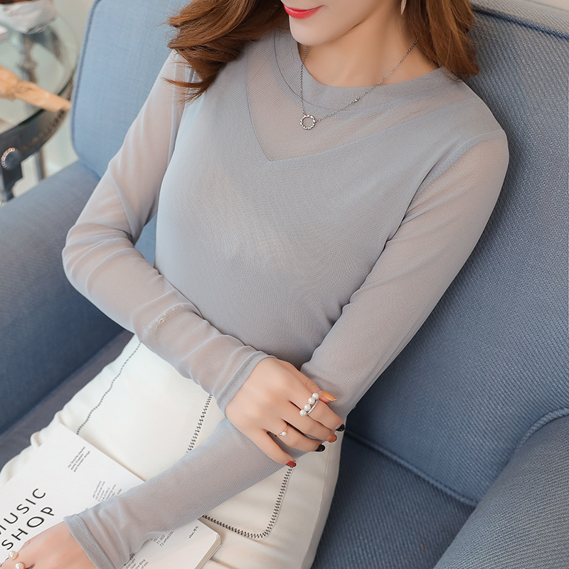 Sexy Women Blouses See Through Transparent Mesh Stand Neck Long Sleeve Sheer Blouse Shirt Ladies Tops Tee Plus Size