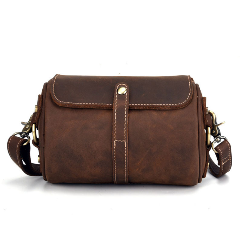 2018 New Crazy Horse Genuine Leather Vintage Cross Body Messenger Shoulder Business Casual Bag Multi -function new trend sale men s genuine leather business casual messenger shoulder bag tablet satchel cross body book bag black t0985