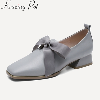 2019 fashion cow leather square toe brand women pumps med heel lace up butterfly-knot solid office lady elegant spring shoes L41