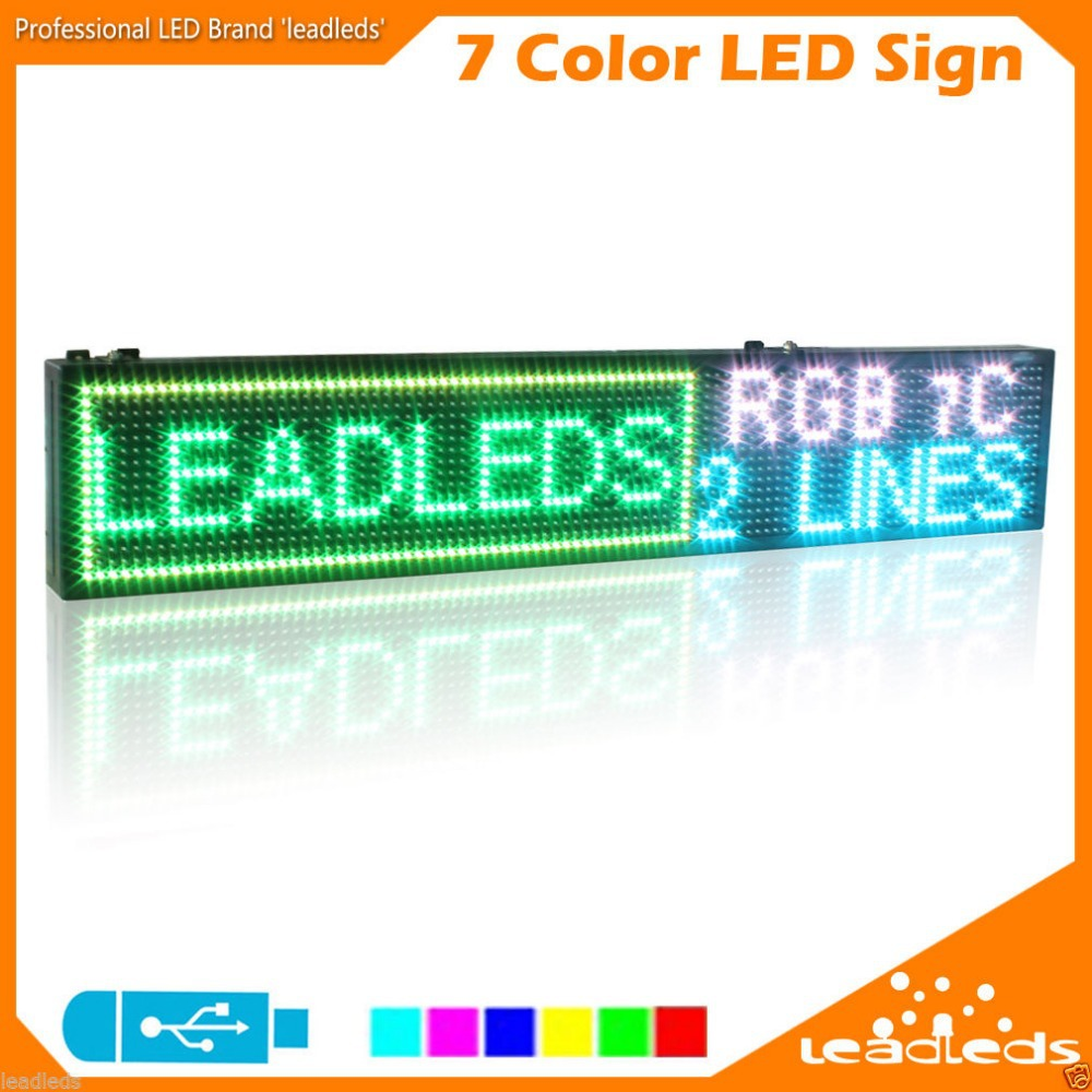 Indoor RGB SMD3528 Full Color Led Sign USB Flash Disk Programmable Scrolling Message Board For Your Business