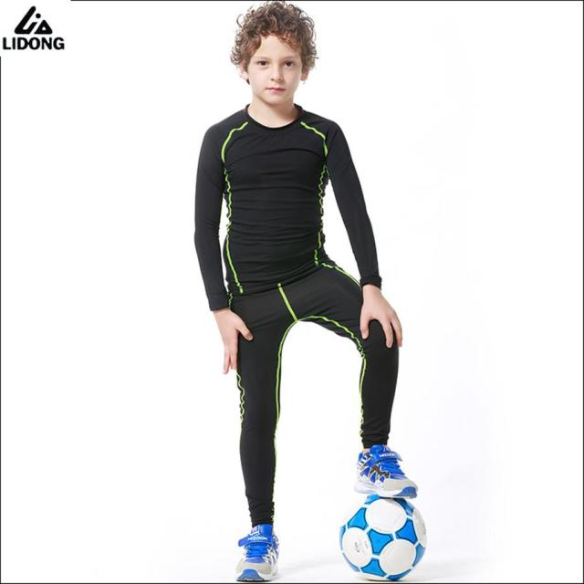 ccba666fc4 New Kids Compression Running Set Pants Shirts Youth Boys Quick Dry Football  Soccer Basketball Sport Skinny