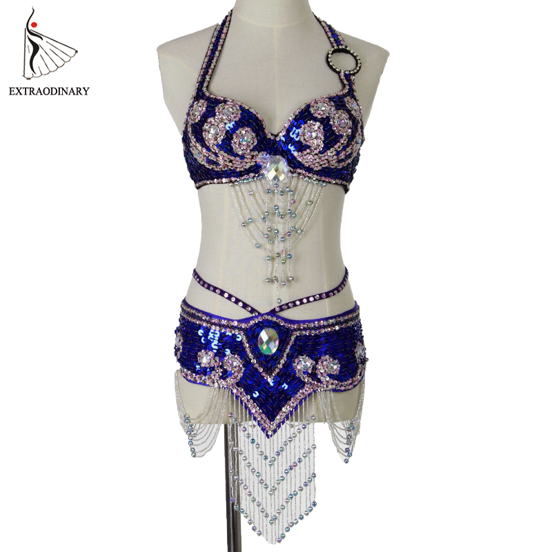 New Women Belly Dance Costume Oriental Set Bra Belt Stage Performance Style Beaded Top Belt Hip Scarf Sequined Outfit 2pcs