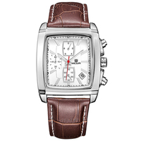 Fashion Men Watch Quartz Leather Band Square Mens Watches Top Brand Luxury Quartz Wristwatch Military Watch Waterproof