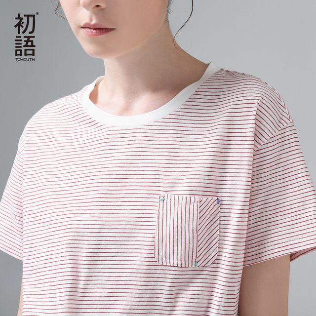 Toyouth 2017 Summer New Arrival Women Cotton T-Shirts Short Sleeve O-Neck Stripe Loose T-Shirts