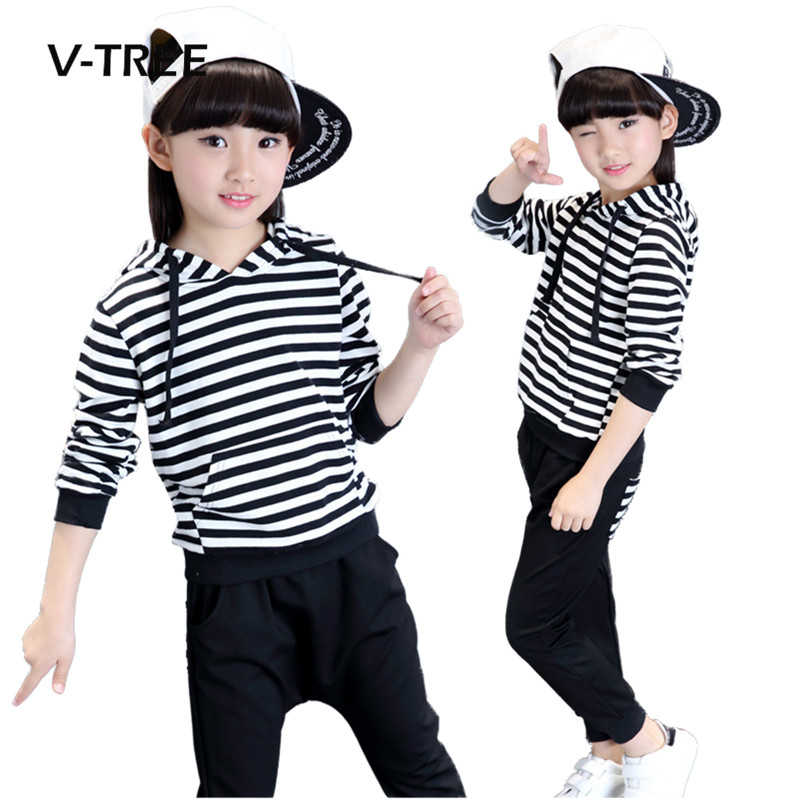V-TREE spring autumn girls clothing sets striped Hip hop style clothes for kids teenagers school girls sports suit sets 3-12T v tree new girls clothing sets spring autumn t shirt skirt suit sets for girl teenage school girls clothes kids brand clothes