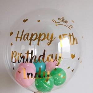"""Image 2 - רק מדבקה! 1pc זהב שחור מותאם אישית מדבקת בלון חתונת מסיבת יום הולדת דקור DIY שם האהבה יום חליפת עבור 18 """"24"""" כדורי"""