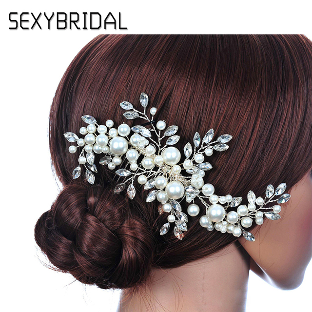 Wedding Hair Accessories For Noiva Pearl Flower Comb Tiaras Crown Princess Clips Women
