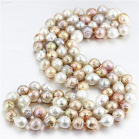 SNH new design 100% real genuine cultured 10 12mm edison natural freshwater pearl necklace jewelry for women