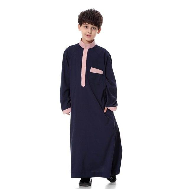 Мальчиков Galabeya Thoub Абая Саудовская Thobe Халат Dishdasha Арабский Кафтан Мусульманское Платье