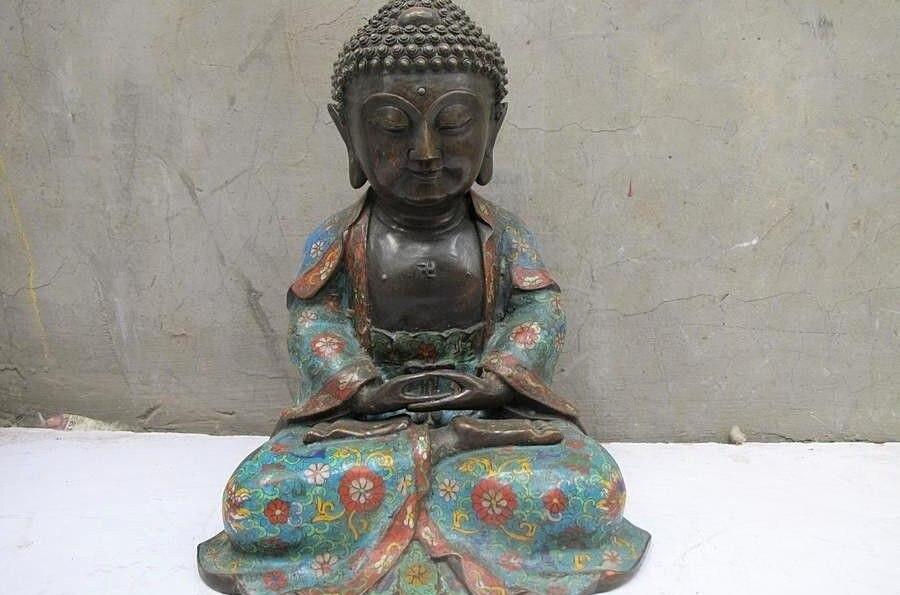 Tibet Buddismo 100% Puro Bronzo Dello Smalto del cloisonne Sakyamuni Buddha statueTibet Buddismo 100% Puro Bronzo Dello Smalto del cloisonne Sakyamuni Buddha statue