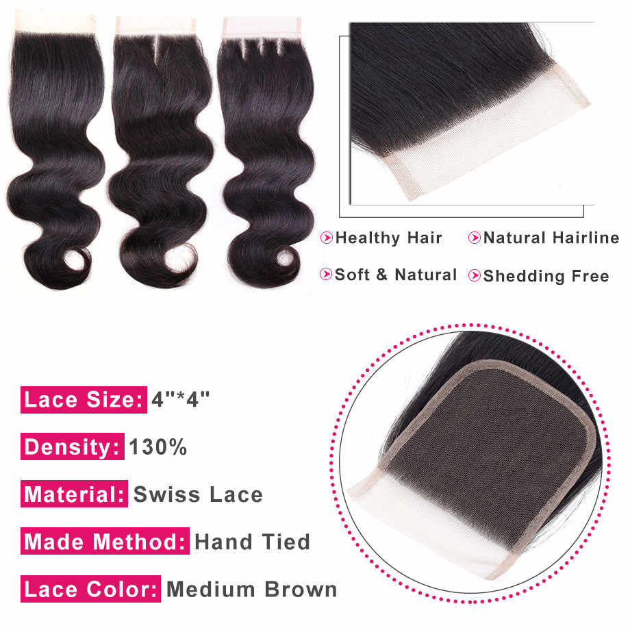 Pelo brillante brasileño onda del cuerpo 4*4 Cierre de encaje libre/Medio/tres Partes 100% Remy cabello humano cierre Color Natural envío gratis