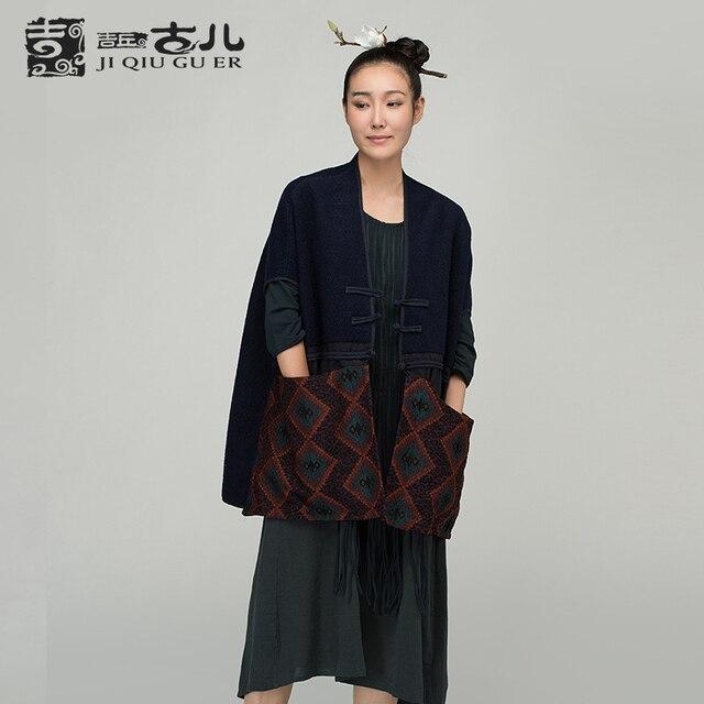 Jiqiuguer оригинальный дизайн шерстяные средней длины жилет верхняя одежда осень национальной тенденции женские этнические большие карманы жилет пальто G153Y022