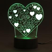 Фотография Rainbow Color I Love You Love Heart Shape LED Night Light Home Living Room Party Decoration Lighting