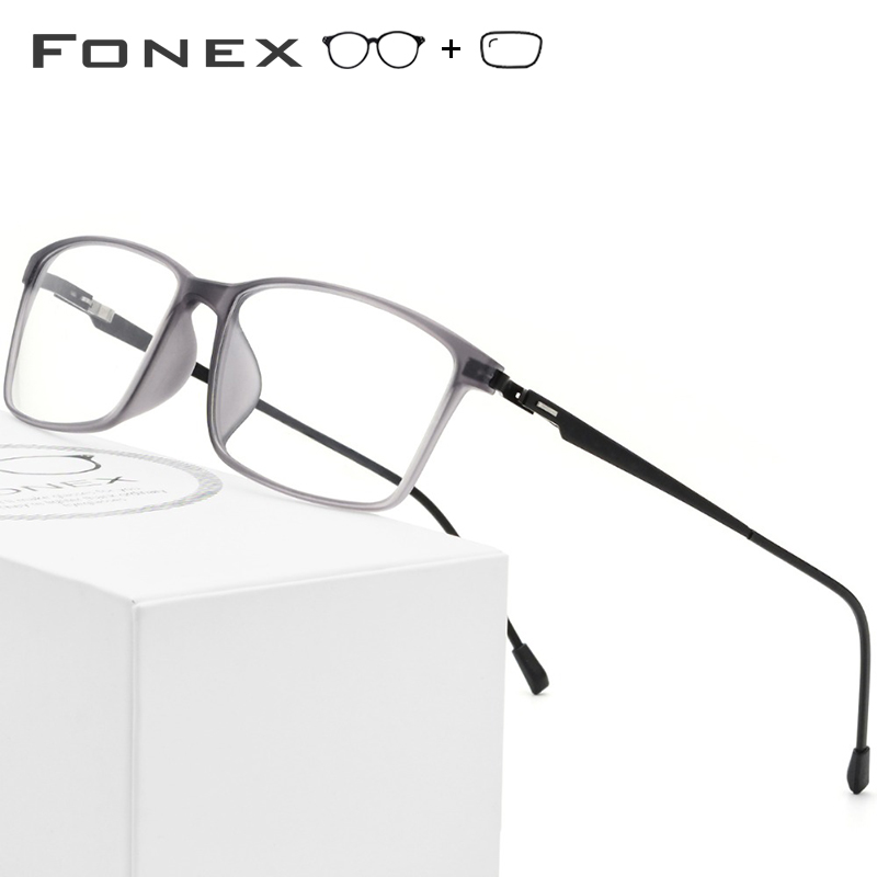 TR90 Titanium Alloy Prescription Glasses Frame Men Myopia Eye Glass Eyeglasses 2019 Korean Screwless Optical Frames Eyewear 9855(China)