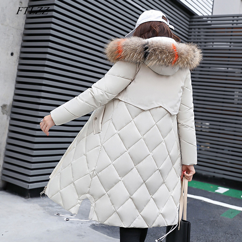 FTLZZ Plus Size Women Winter Down Cotton Jacket Coats Big Fur Hooded Warm Long   Parka   Female Thicken Slim Casual Outerwear