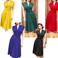 Women Elegant Vintage 80s Retro Empire Knee-Length Dress Office Business Casual Party Bodycon Fitted Sheath Pencil Dress SY8006