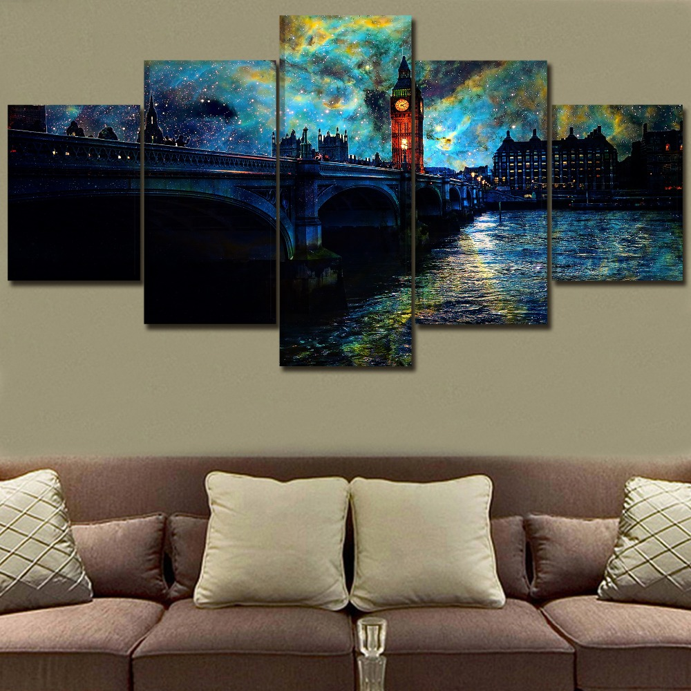 Canvas Wall Art Decor In Night London City Painting 5 Piece Sky Starry Stars Artistic Poster HD Print Landscape Bridge Picture in Painting Calligraphy from Home Garden
