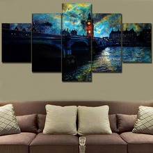 Canvas Wall Art Decor In Night London City Painting 5 Piece Sky Starry Stars Artistic Poster HD Print Landscape Bridge Picture