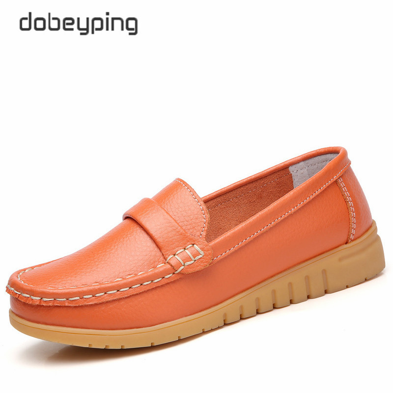 Image 4 - dobeyping New Genuine Leather Shoes Woman Slip On Women Flats Moccasins Women's Loafers Spring Autumn Mother Shoe Big Size 35 44-in Women's Flats from Shoes