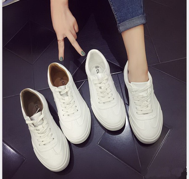 2017 Spring Summer Women Lace Up flat Casual White Women's Board Canvas Shoes Woman Low Pedal Shoes Breathable Massage Shoes
