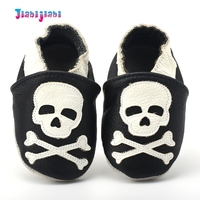 Baby Boy Skull Beige Black Leather Shoes Infant Cool Cartoon Soft Sole Shoes Todder First Walker