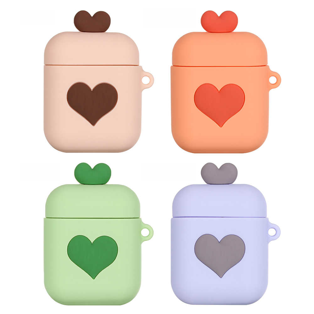 For Apple Airpods Case Cover Loving Heart Cartoon Wireless Bluetooth Earphone Silicone Protective Cases for Air Pods