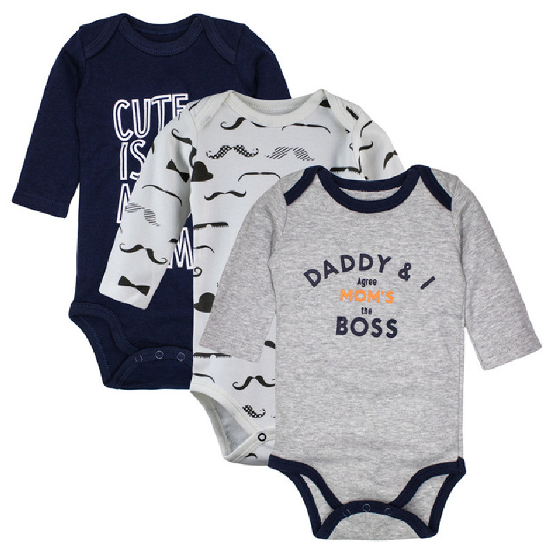 3pieces/lot Baby Bodysuits Spring-Autumn Cotton Long Sleeve Underwear Infant Boys Clothes newborn girls Clothing kids jumpsuit