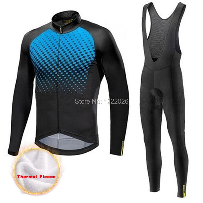 Invierno Mavic Cycling Jersey Set Winter Thermal Fleece Long Sleeves Racing MTB Suit Maillot Bike Clothing Ropa Ciclismo