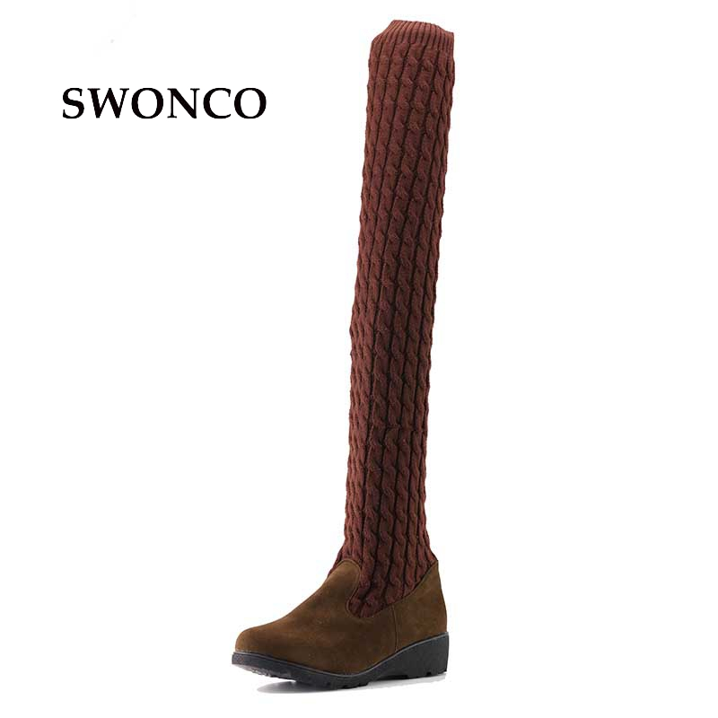Women Boots 2017 Autumn Winter Ladies Fashion Flat Bottom Boots Shoes Over The Knee Thigh High Knitting wool Long Brand Boots yougolun women nubuck thigh high boots ladies autumn winter boots woman over the knee boots women 2017 square high heels shoes