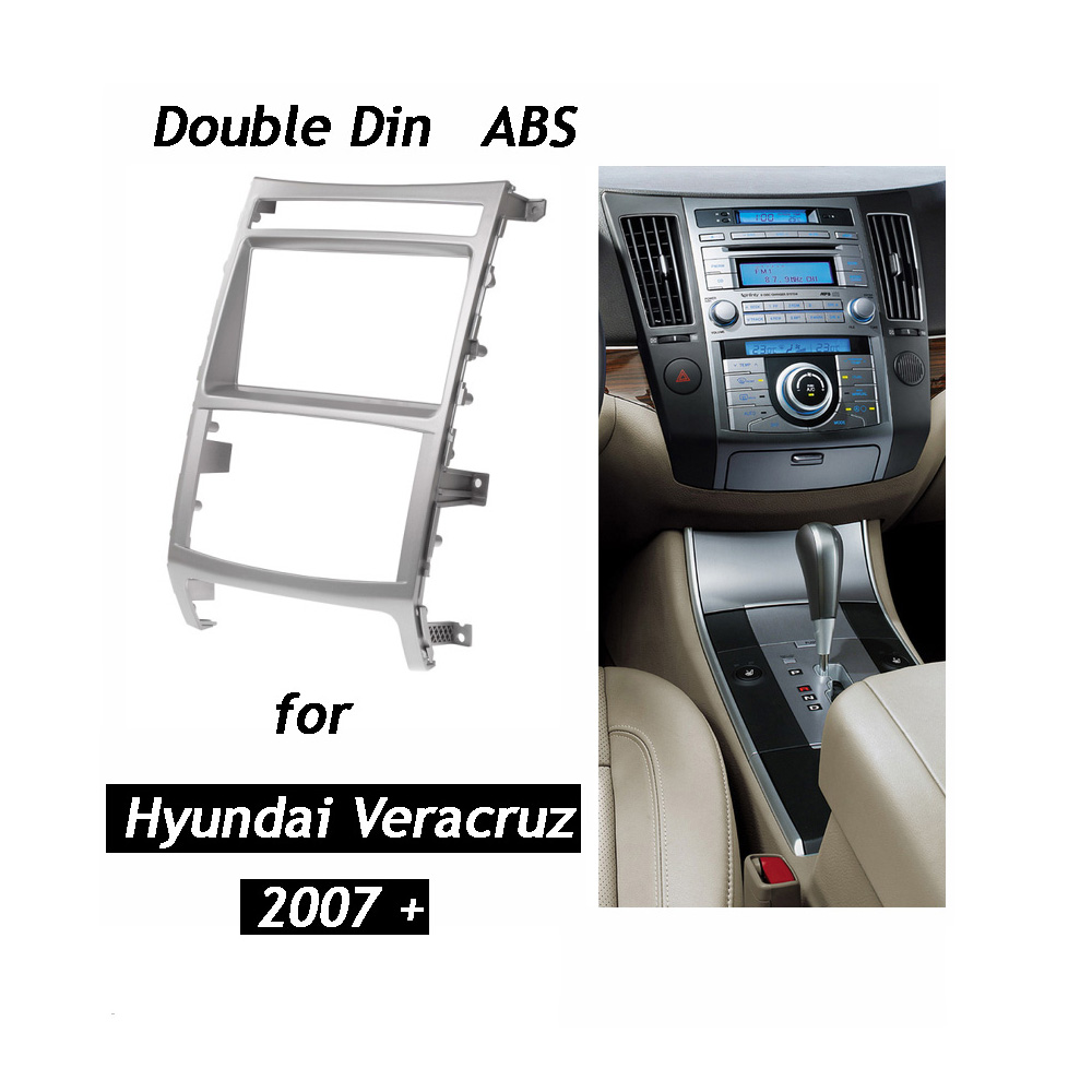 Double Din Car Radio Fascia for HYUNDAI iX 55 Veracruz Stereo Dash Kit Fit Installation Trim