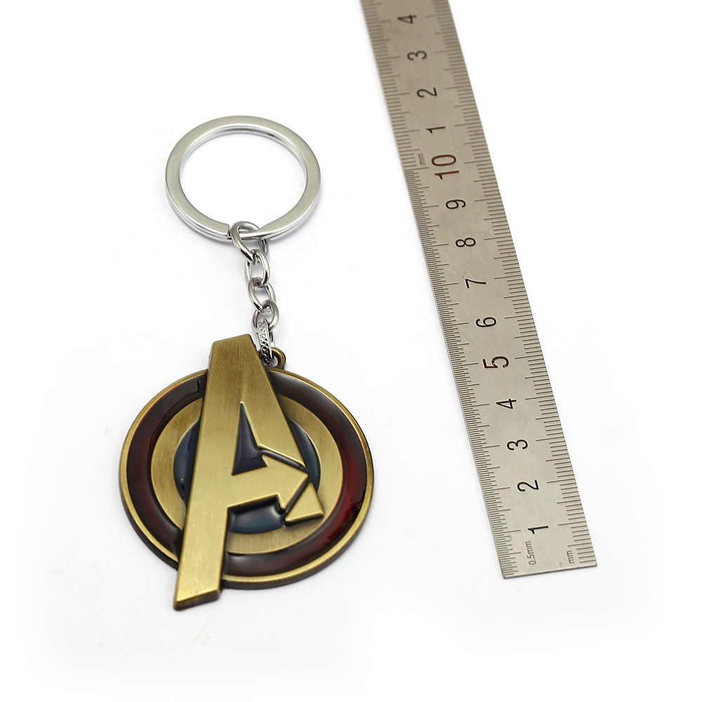 Marvel vengadores llaveros metal con logo superhéroe Hombre de Hierro Thor Hulk Viuda Negra llaveros llavero con colgantes Chaveiro figura Juguetes