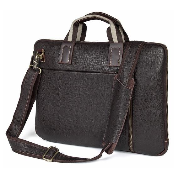 Men's Business HandBag Litchi  Genuine  Leather Bag 15.6